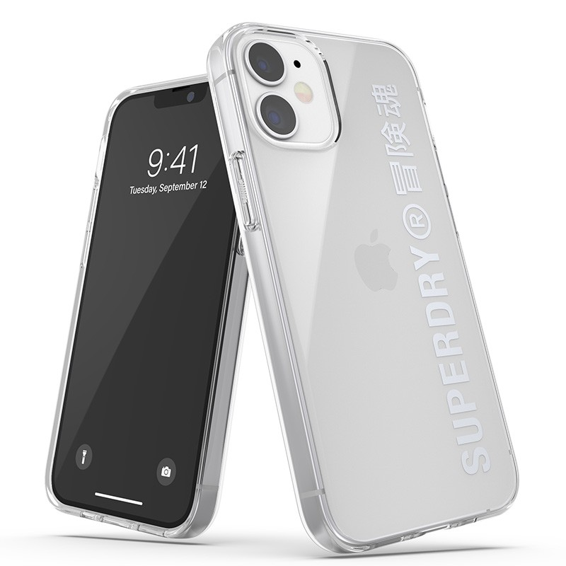 Superdry Snap Case Clear iPhone 12 Mini zilver 01