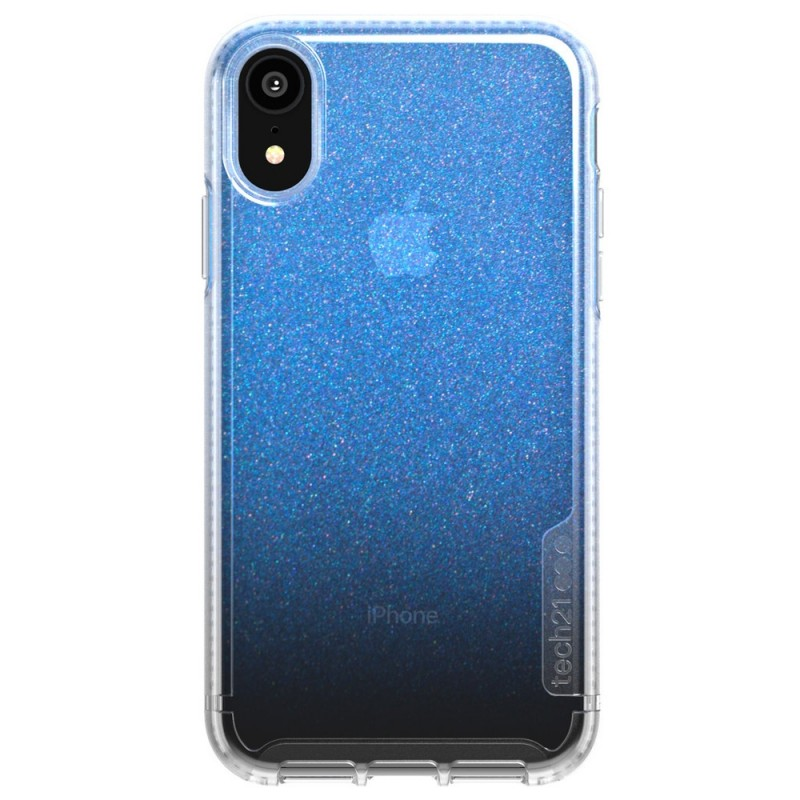 Tech21 Pure Shimmer iPhone XR Hoesje Blauw Transparant 01