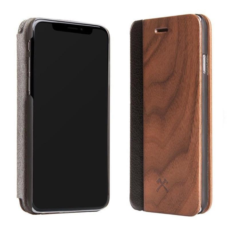 Woodcessories EcoFlip iPhone XR Hoesje Walnoot hout 02