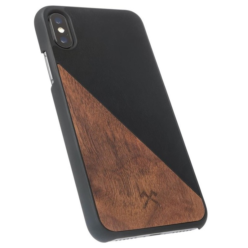 Woodcessories EcoSplit iPhone XS Max Hoesje Zwart/Walnoot 04