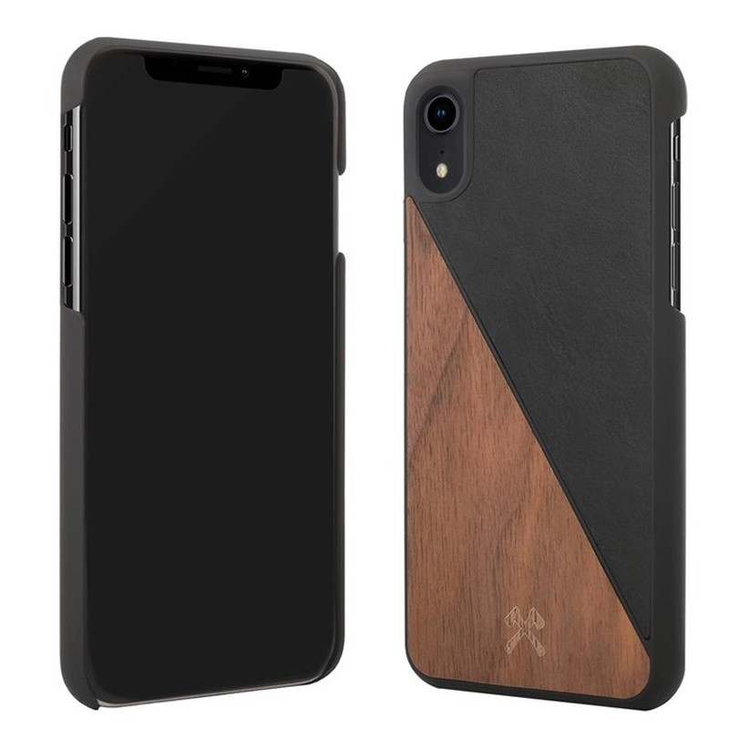 Woodcessories EcoSplit iPhone XR Hoesje Hout Walnoot Zwart 02
