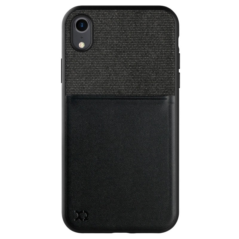 Xqisit Card Case iPhone XR Max Hoesje Zwart Grijs 01