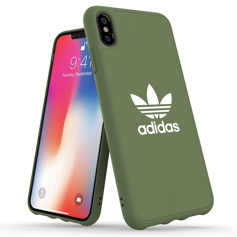 Adidas Moulded Case Canvas iPhone XS Max hoesje donker groen 03