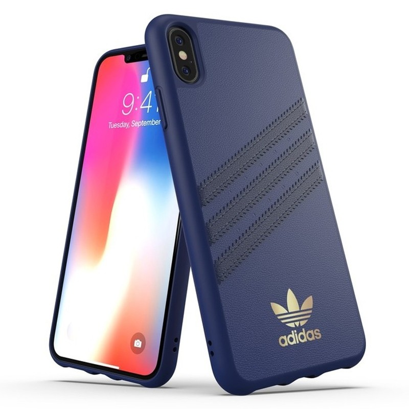 Adidas Moulded Case iPhone Xs Max hoesje blauw/goud 03
