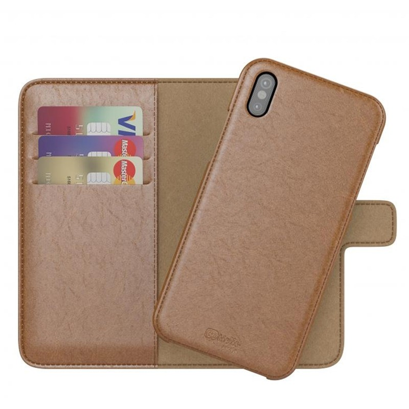 BeHello 2-in-1 Wallet Case iPhone X/Xs Bruin 01