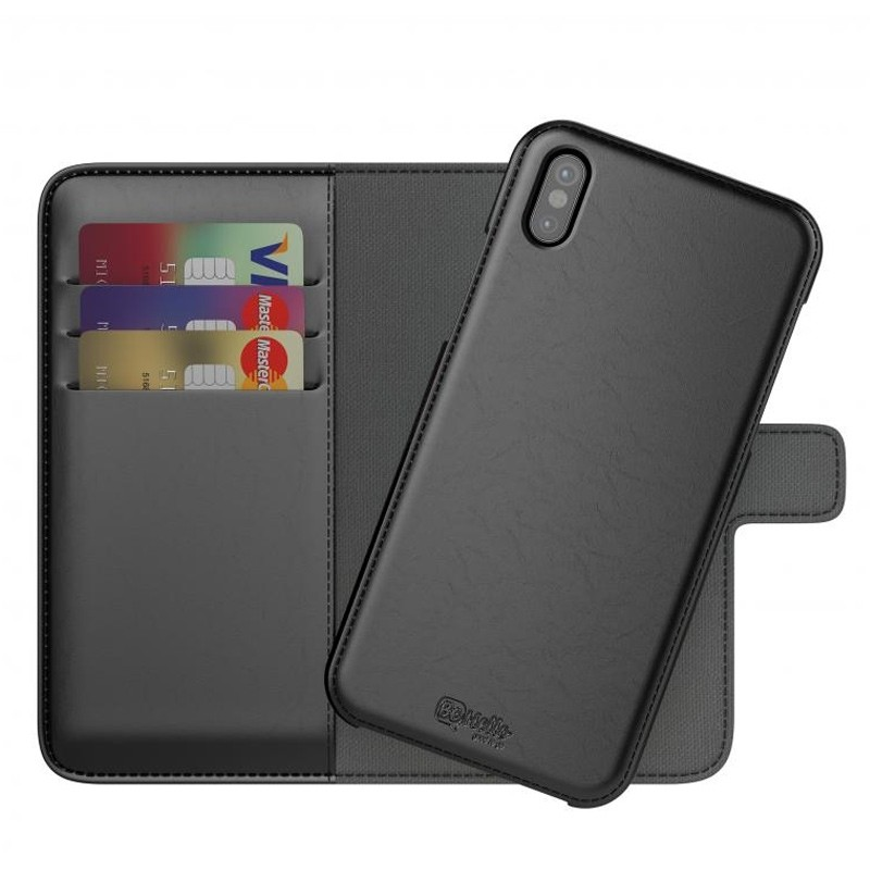 BeHello 2-in-1 Wallet Case iPhone X/Xs Zwart 01