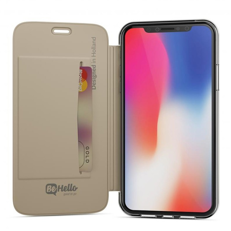 BeHello Clear Back Book Case iPhone X Goud Transparant 01