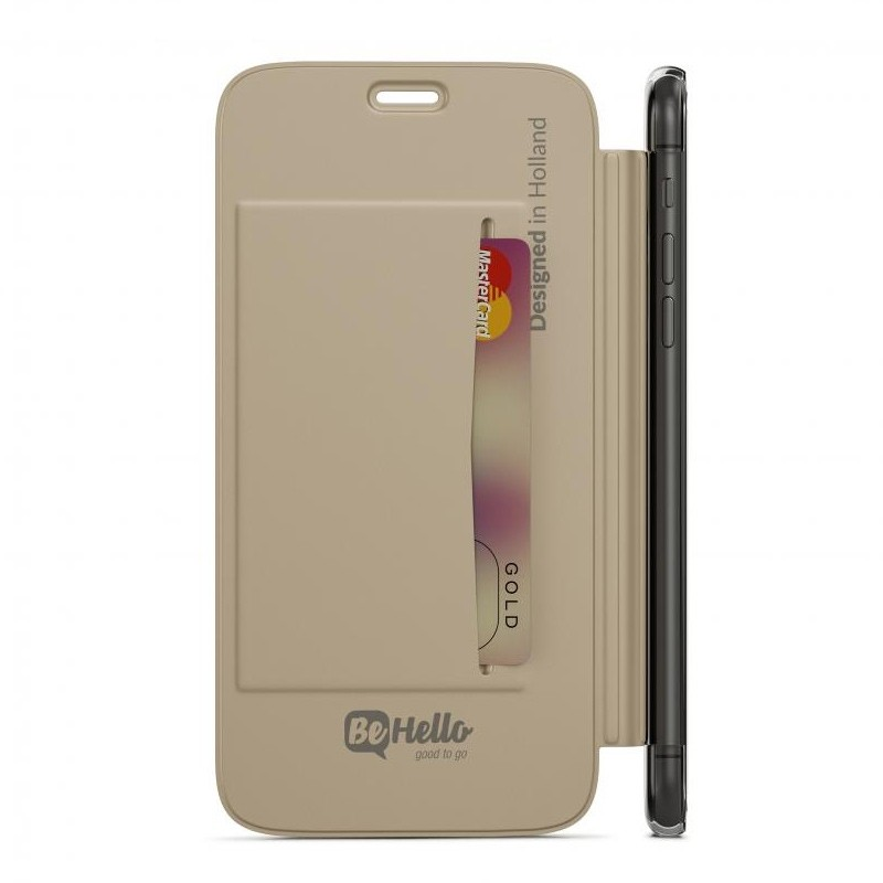 BeHello Clear Back Book Case iPhone X Goud Transparant 04