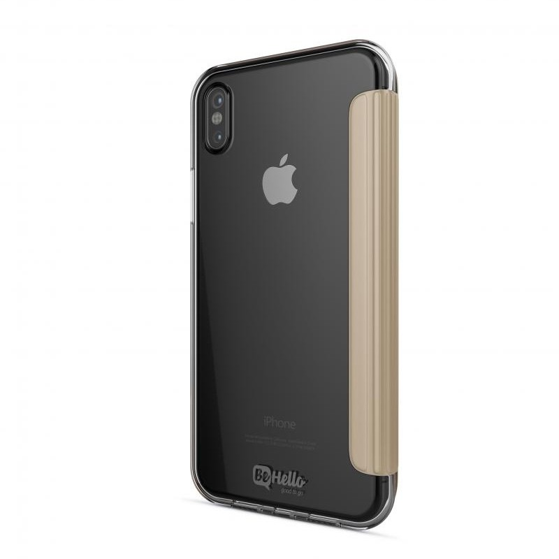 BeHello Clear Back Book Case iPhone X Goud Transparant 03