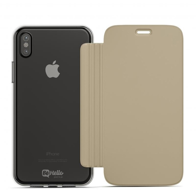 BeHello Clear Back Book Case iPhone X Goud Transparant 02