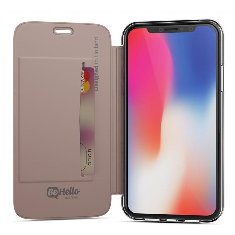 BeHello Clear Back Book Case iPhone X Roze Goud Transparant 01