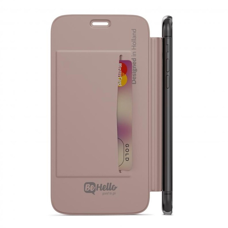 BeHello Clear Back Book Case iPhone X/Xs Roze Goud Transparant 04