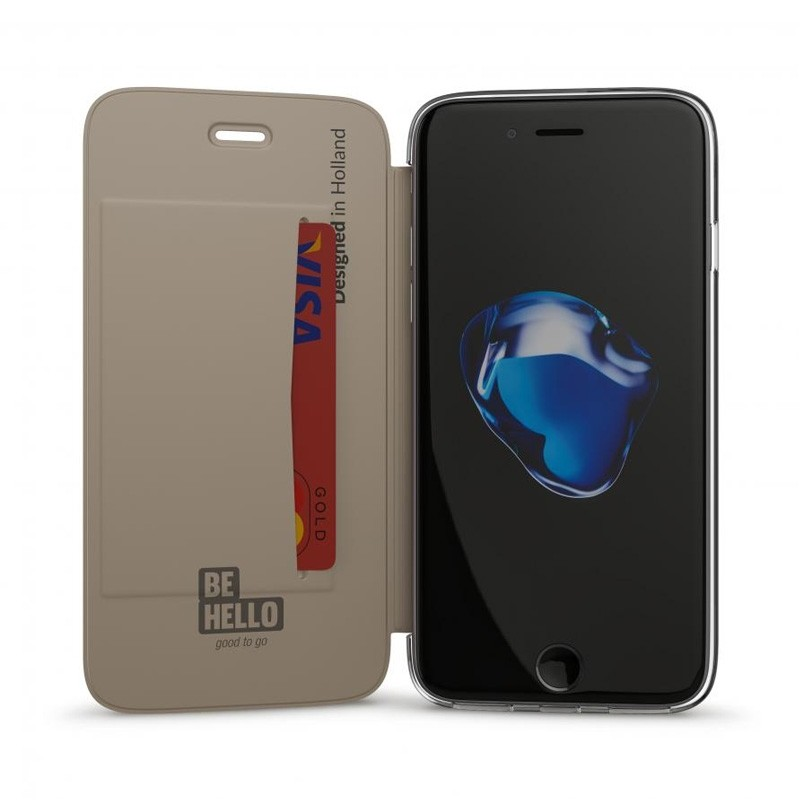BeHello Clear Back Wallet Case iPhone 8/7/6S/6 Goud - 1