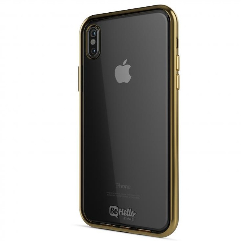 BeHello Gel Case Chrome Edge iPhone X/Xs Goud Zwart 01