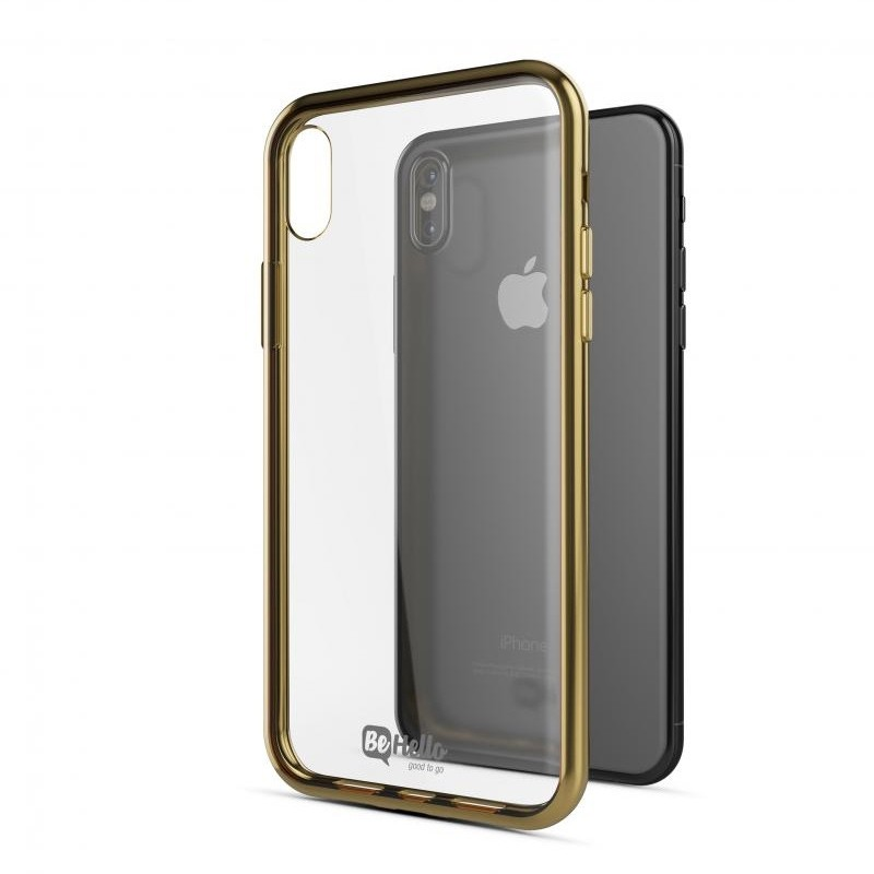 BeHello Gel Case Chrome Edge iPhone X/Xs Goud Zwart 03