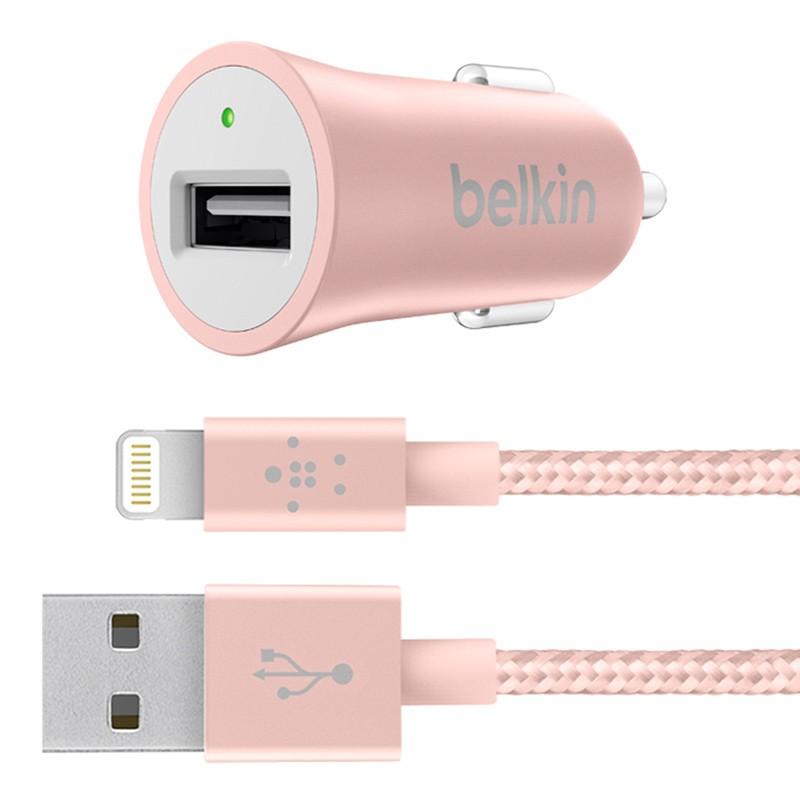 Belkin - Metallic Autolader met Lightning Kabel Rose Gold 01