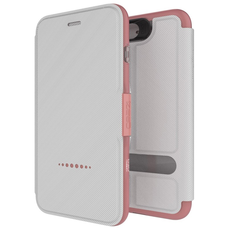 Gear4 Oxford Book Case iPhone 7 White/Pink - 1