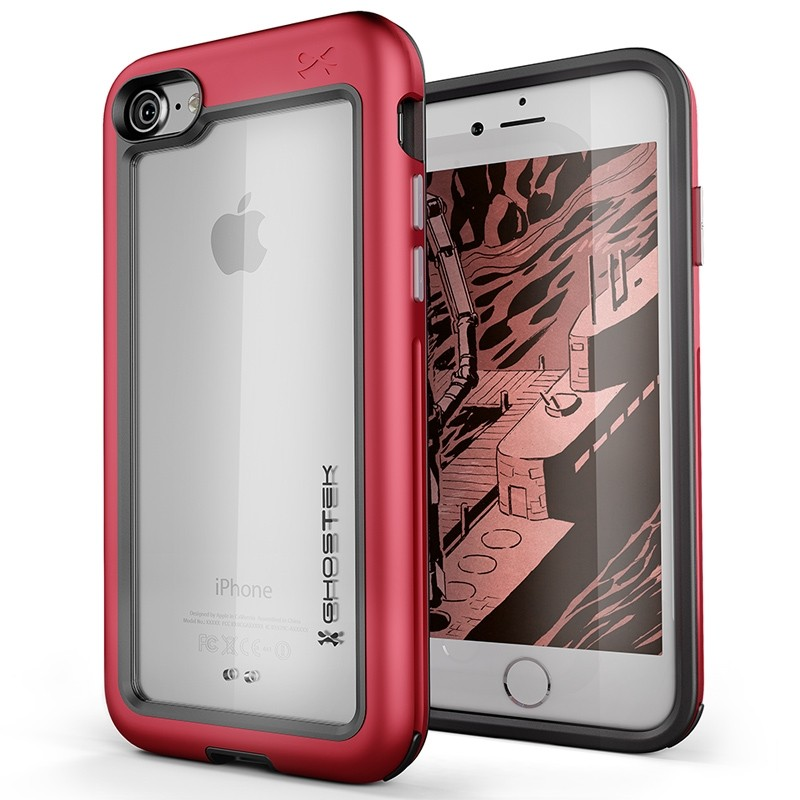 Ghostek Atomic Slim Rugged Case iPhone 8/7 rood / transparant 01