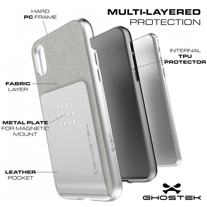 Ghostek Exec 2 Wallet Case iPhone X/Xs SILVER 06