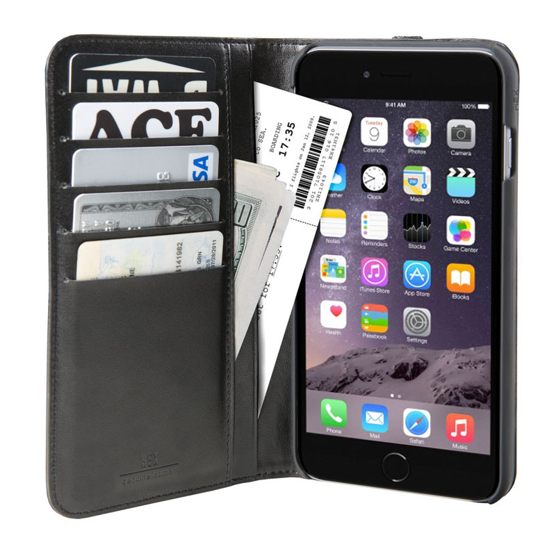 HEX Icon Wallet Case iPhone 6 Plus Black Pebbled - 3