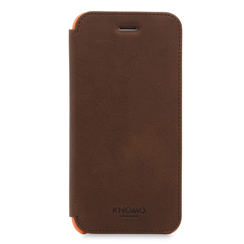 Knomo Leather Folio iPhone 7 Brown 01
