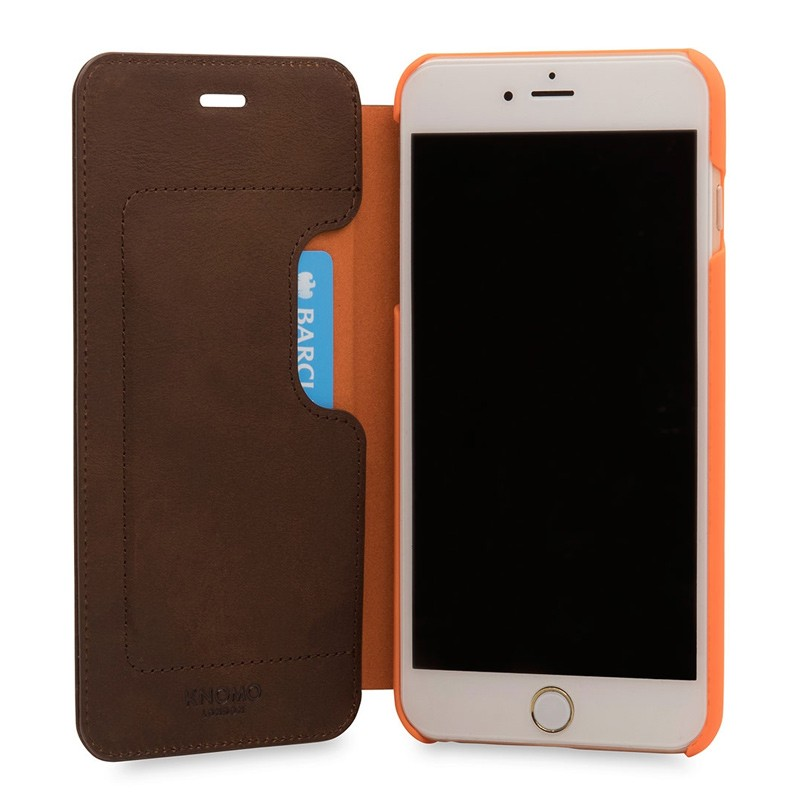 Knomo Leather Folio iPhone 7 Plus Brown 04