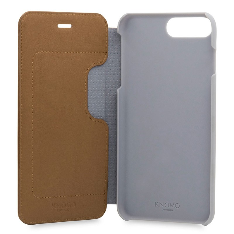 Knomo Leather Folio iPhone 7 Plus Caramel 05