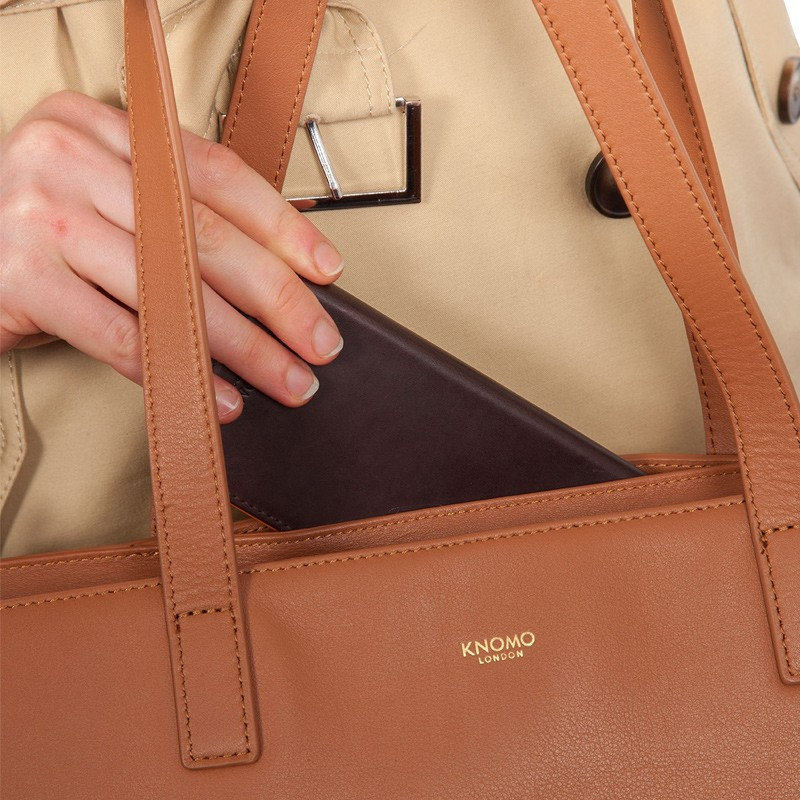 Knomo - Maddox 15 inch Zip Top Laptoptas Caramel 06