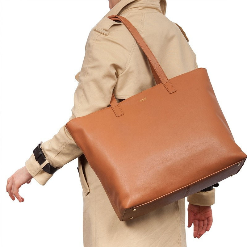 Knomo - Maddox 15 inch Zip Top Laptoptas Caramel 08