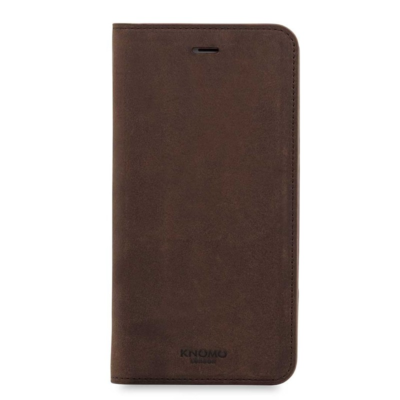 Knomo Premium Leather Folio iPhone 7 Plus Brown 01