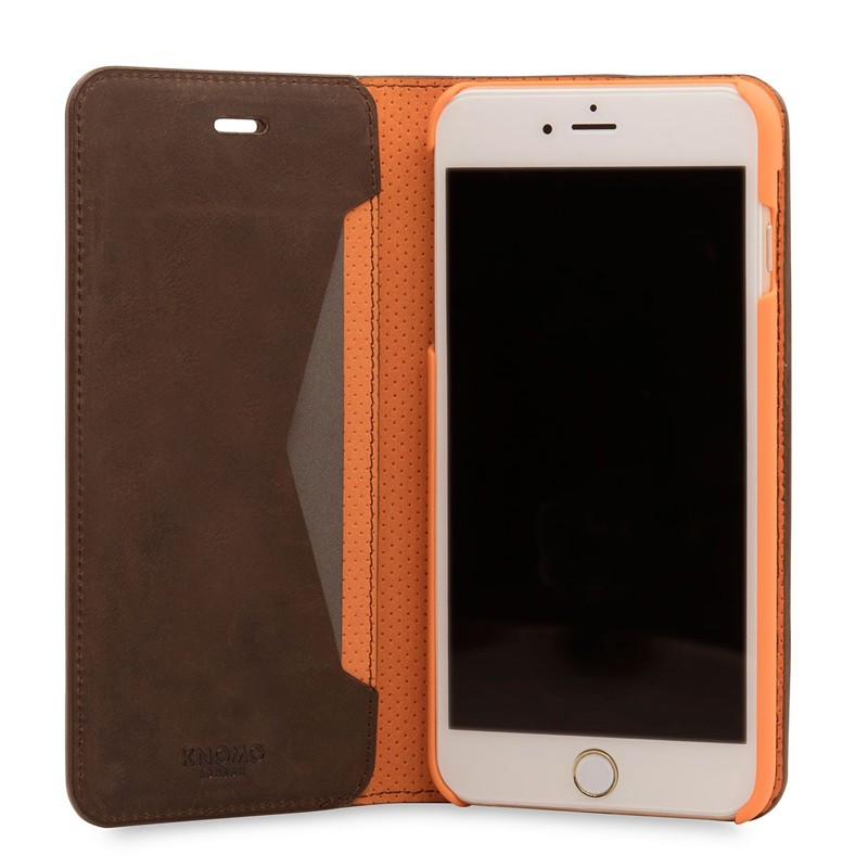Knomo Premium Leather Folio iPhone 7 Plus Brown 04