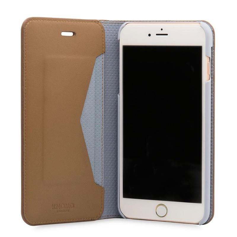 Knomo Premium Leather Folio iPhone 7 Plus Caramel 04