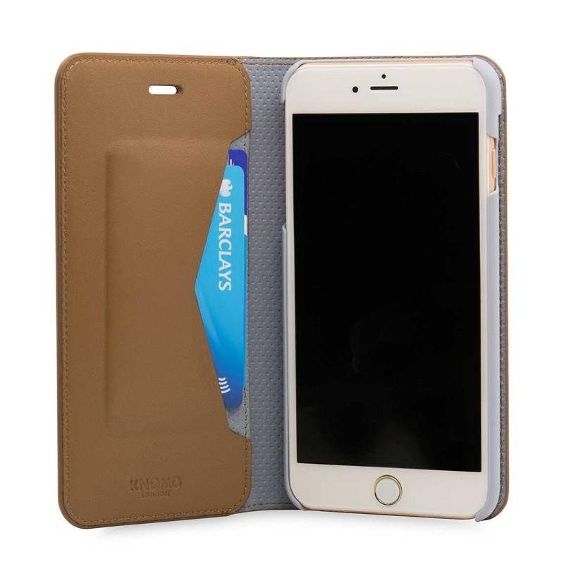 Knomo Premium Leather Folio iPhone 7 Plus Caramel 05