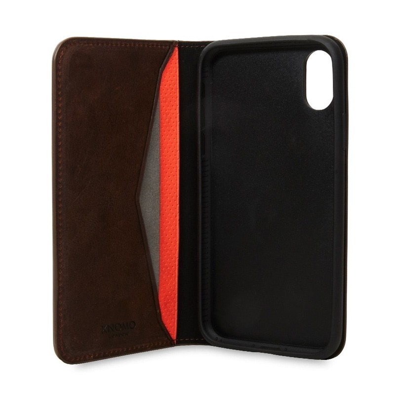 Knomo Premium Leather Folio iPhone X/Xs Bruin - 1