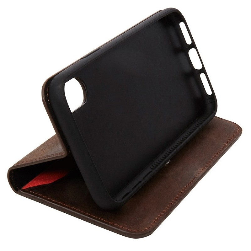 Knomo Premium Leather Folio iPhone X/Xs Bruin - 4