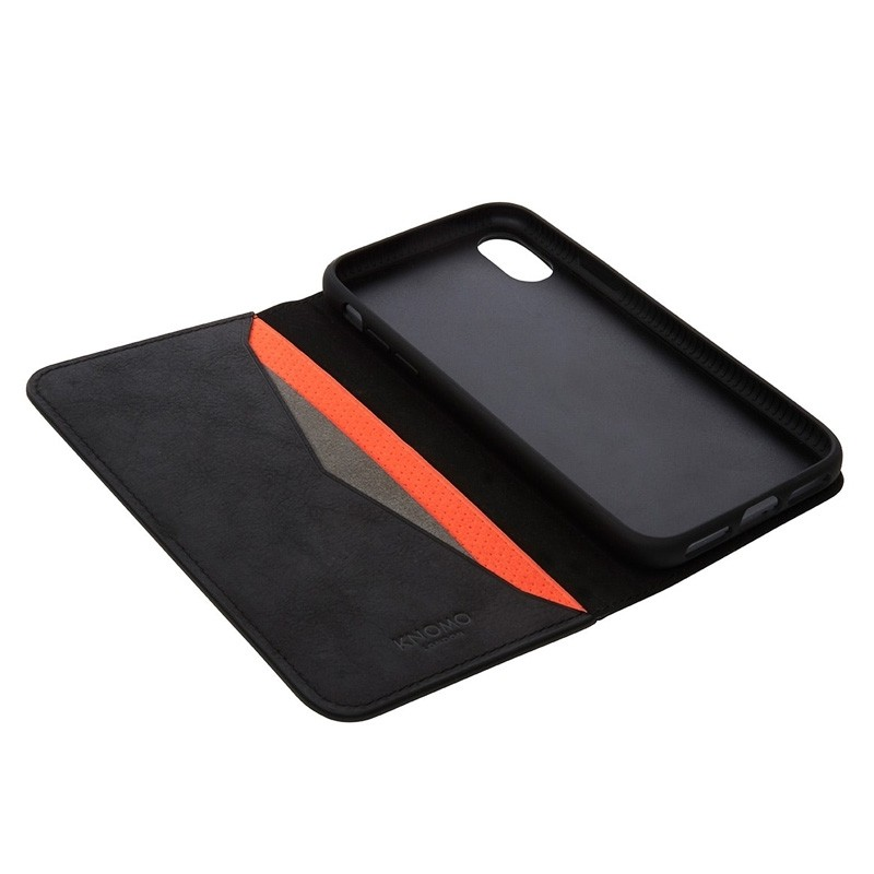Knomo Premium Leather Folio iPhone X Zwart - 3