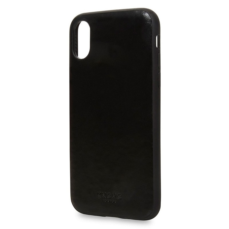 Knomo Leather Snap On Case iPhone X Black - 2