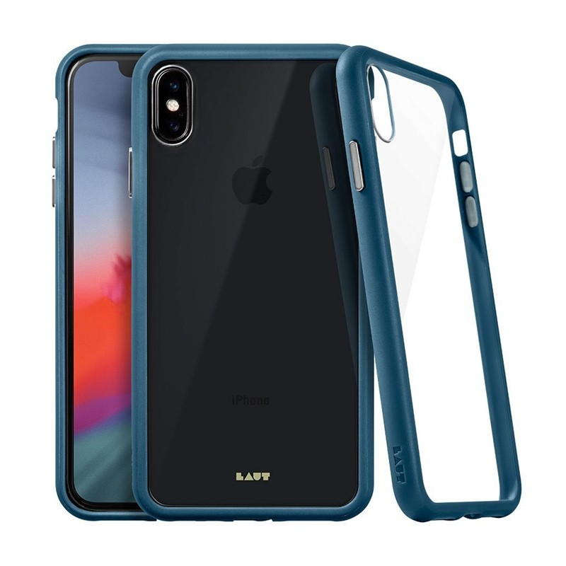 LAUT Accents iPhone XS Max Hoesje Donkerblauw / Transparant 01