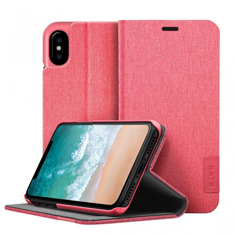 LAUT Apex Knit iPhone X Wallet Coral Pink - 1