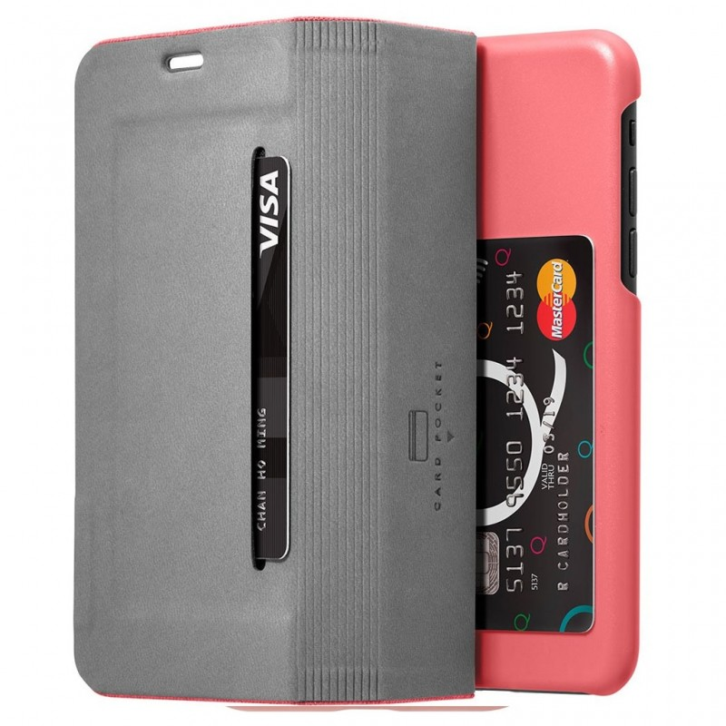 LAUT Apex Knit iPhone X Wallet Coral Pink - 4