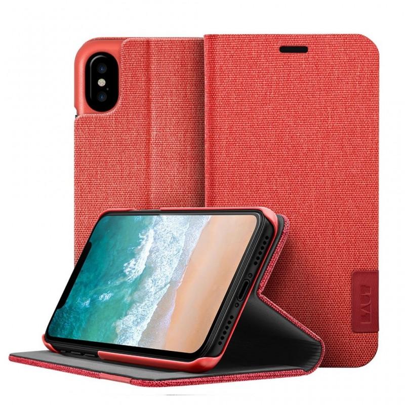 LAUT Apex Knit iPhone X/Xs Wallet Crimson Red - 1