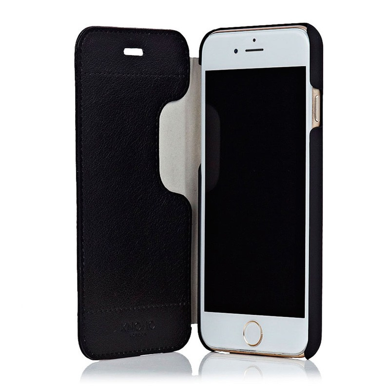 Knomo Leather Folio iPhone 6 Plus Black - 1