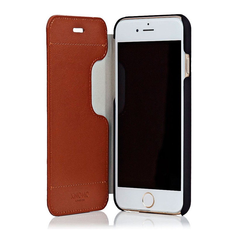 Knomo Leather Folio iPhone 6 Plus Brown - 1