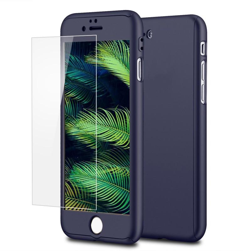 Mobiq 360 Graden Full Body Beschermhoes iPhone 8 Blauw - 1