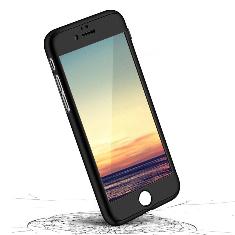 Mobiq 360 Graden Full Body Beschermhoes iPhone 8 Plus Blauw - 2