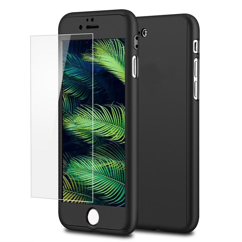 Mobiq 360 Graden Full Body Beschermhoes iPhone 8 Plus Zwart - 1