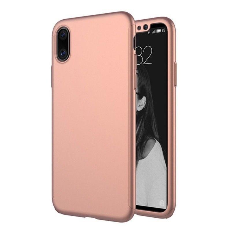 Mobiq 360 Graden Full Body Beschermhoes iPhone X/Xs Roze - 1