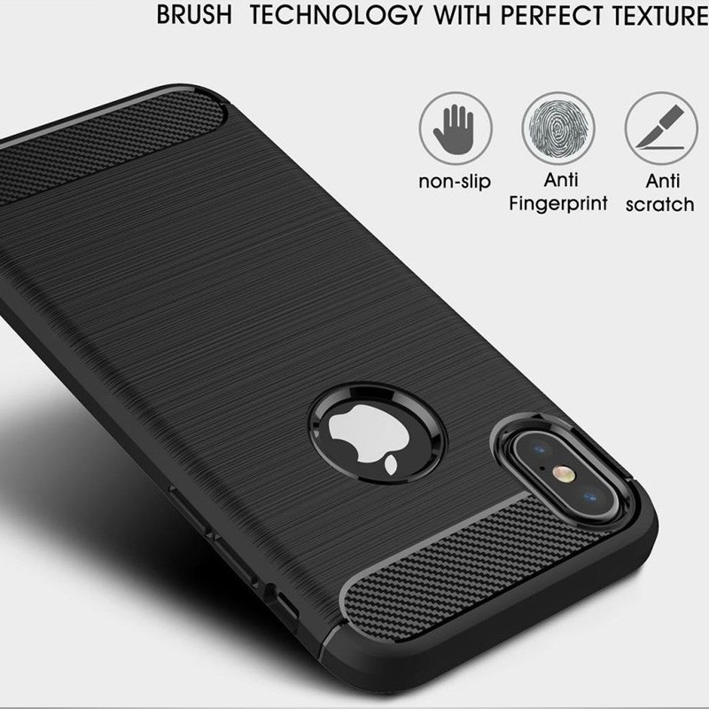 Mobiq Hybrid Carbon iPhone XS Max Hoesje Grijs 05