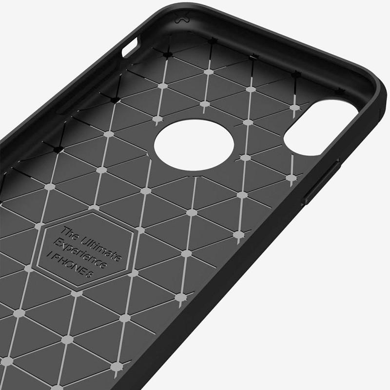 Mobiq Hybrid Carbon iPhone XS Max Hoesje Grijs 02