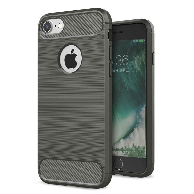 Mobiq - Hybrid Carbon iPhone 8/ 7 Plus Hoesje Grijs - 1